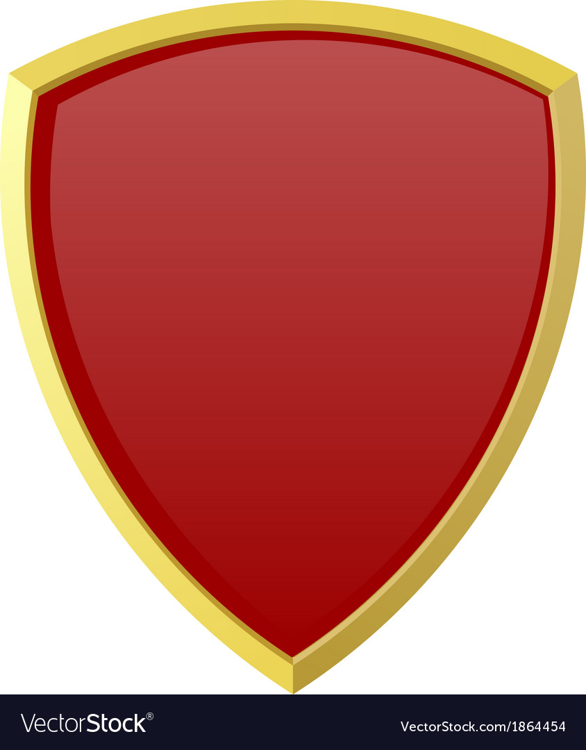Red shield on white background vector | Price: 1 Credit (USD $1)
