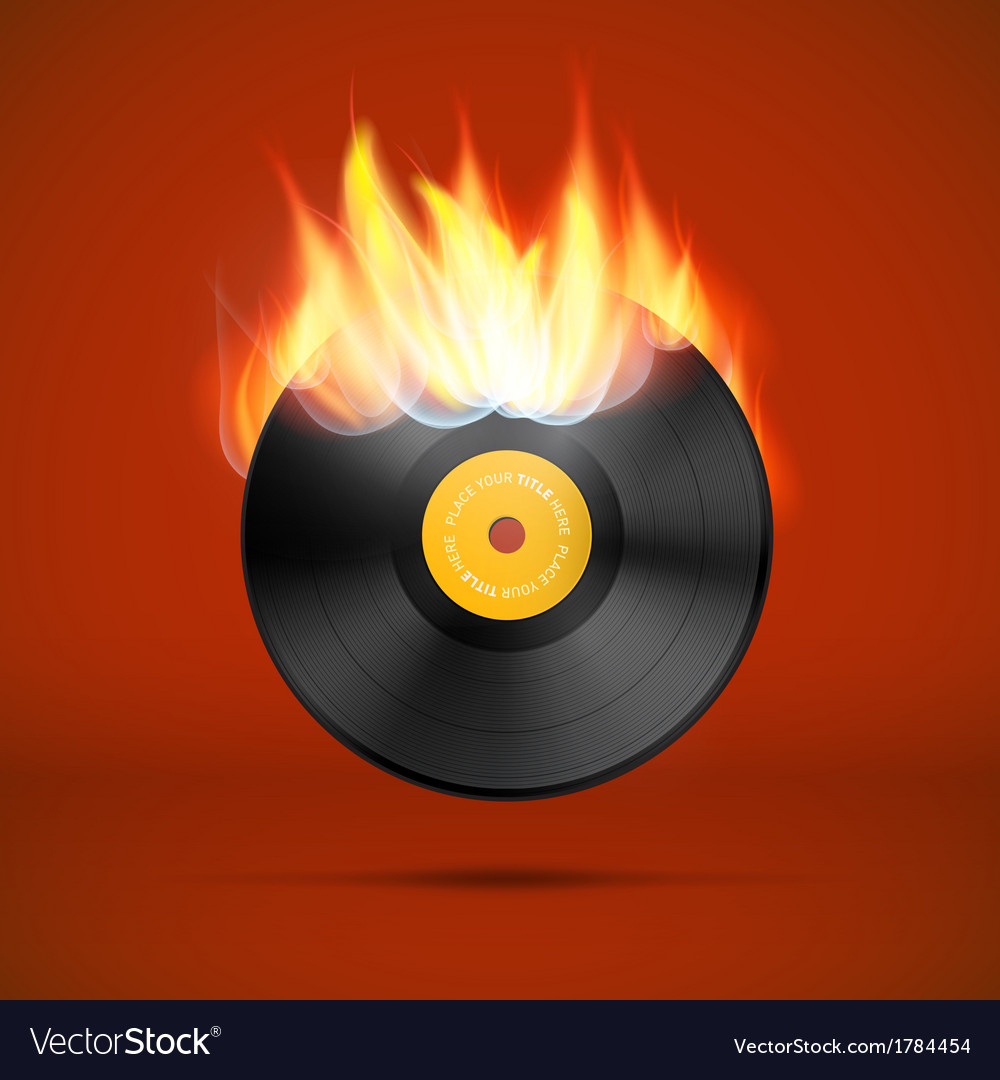 Vinyl record disc in flames vector | Price: 1 Credit (USD $1)