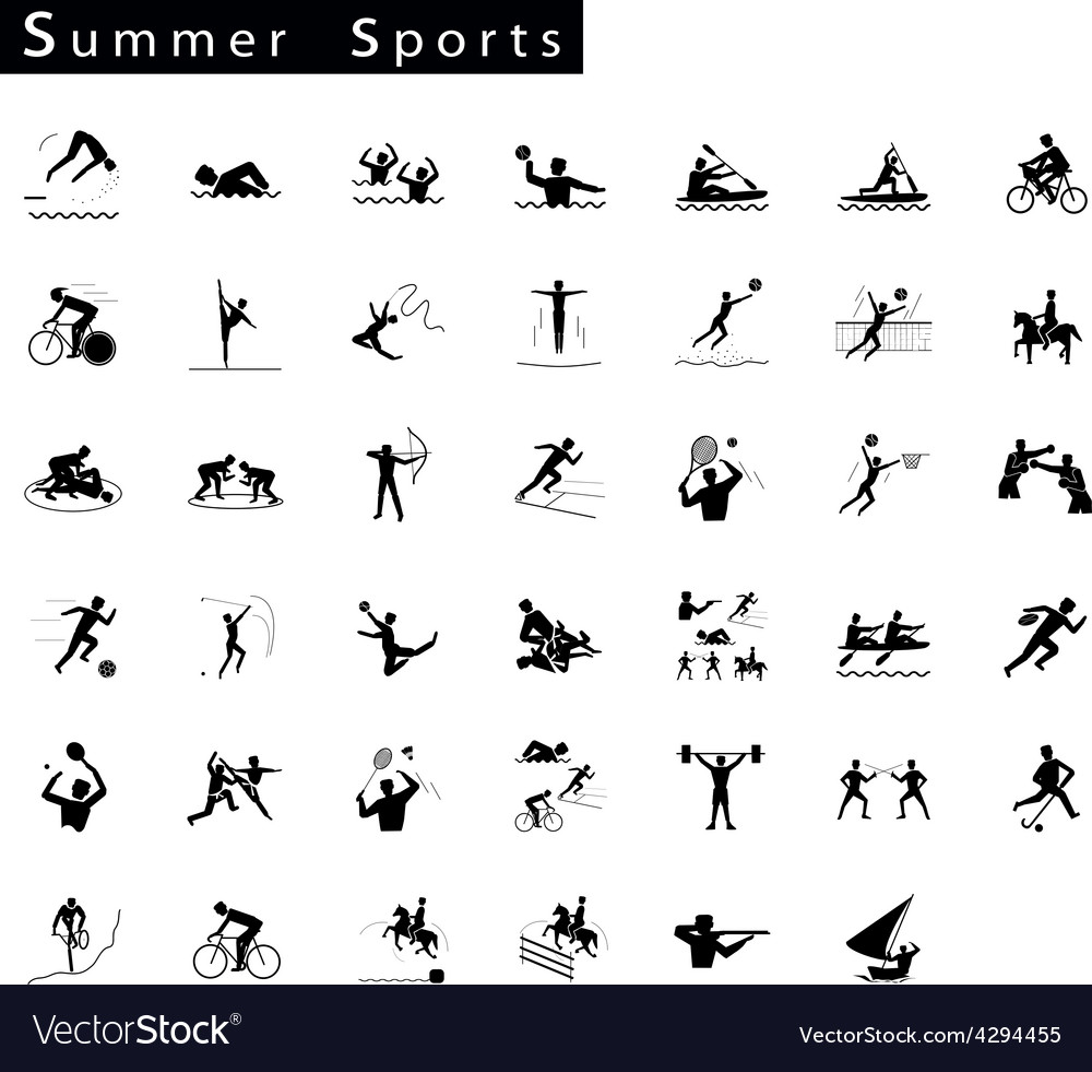 A set of 41 summer sport icons vector | Price: 1 Credit (USD $1)