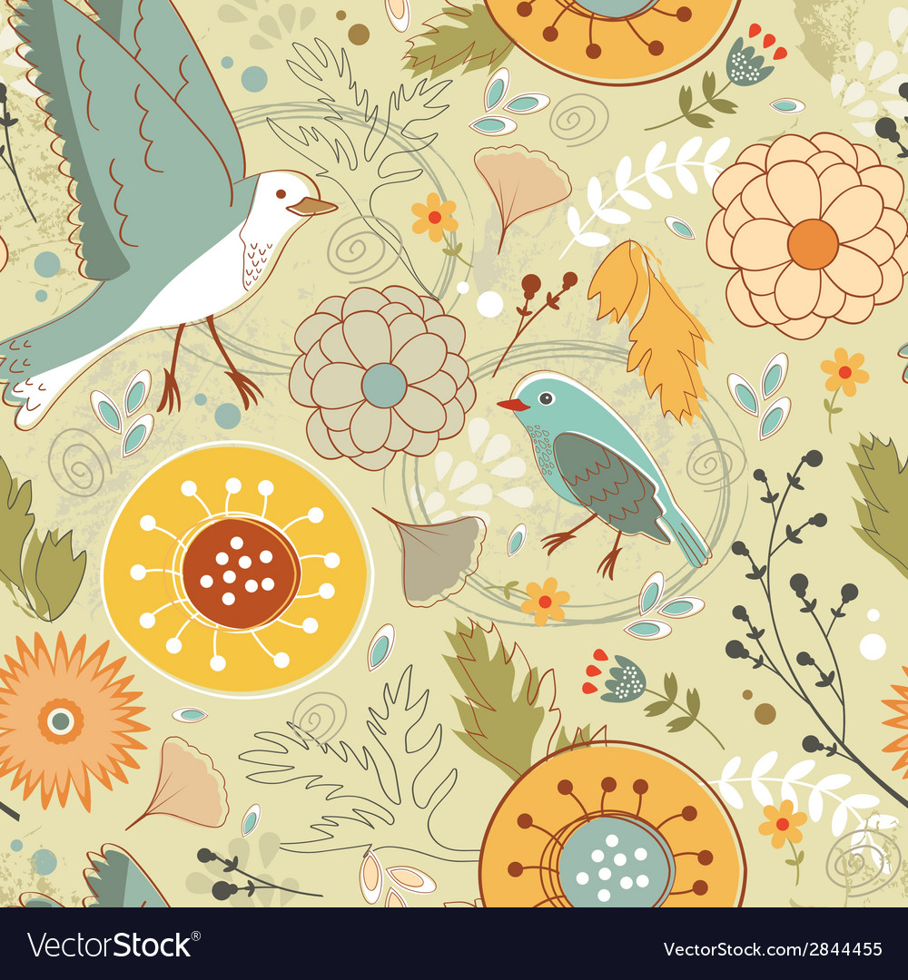 Autumn pattern with birds flowers and leaves vector | Price: 1 Credit (USD $1)