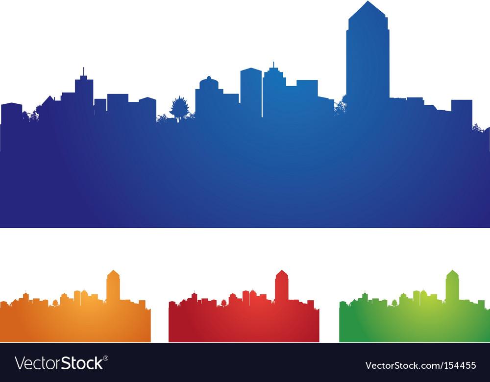 Cityscape four colors vector | Price: 1 Credit (USD $1)