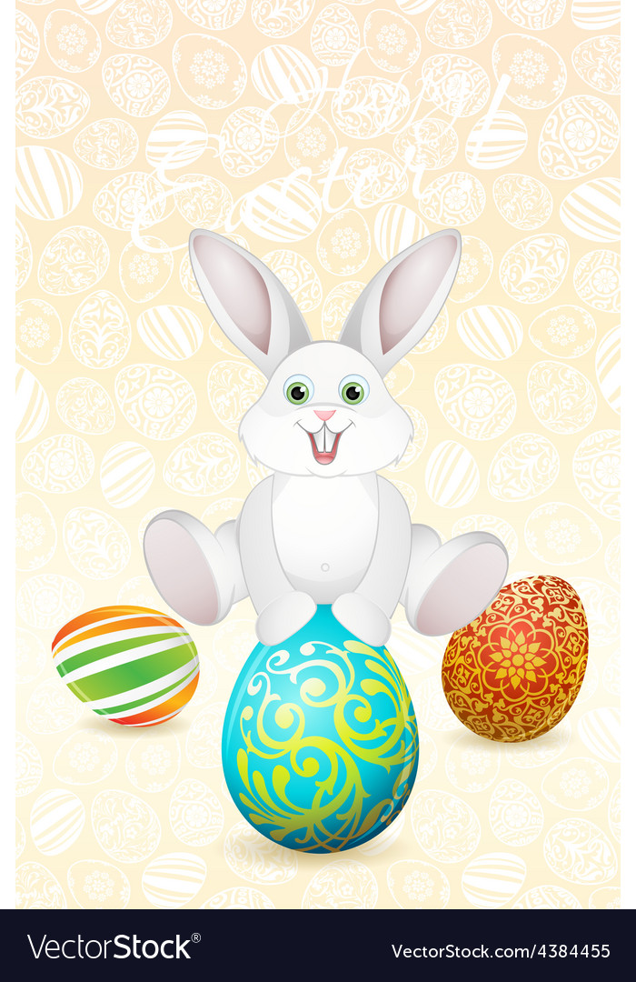 Easter holiday card with eggs and rabbit vector | Price: 1 Credit (USD $1)
