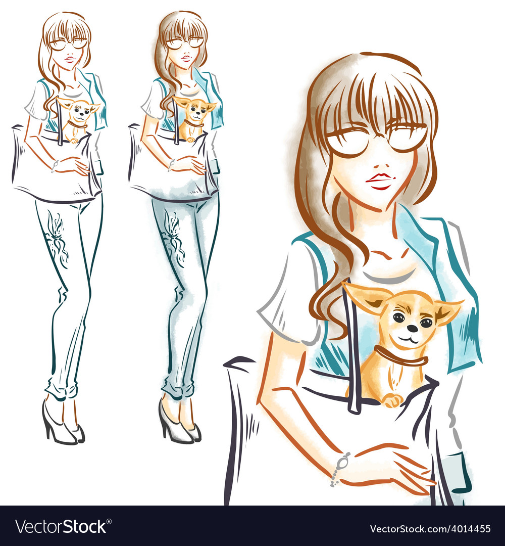 Fashion girl with little dog chihuahua vector