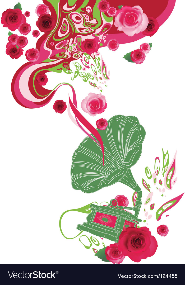 Gramophone on the floral background vector | Price: 1 Credit (USD $1)