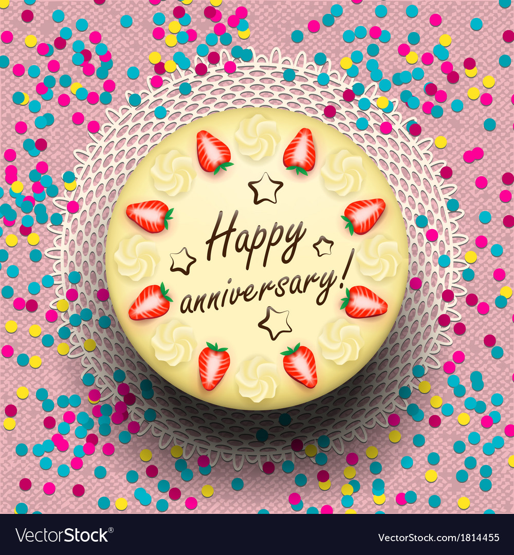 Icecream anniversary cake decorated with vector | Price: 1 Credit (USD $1)