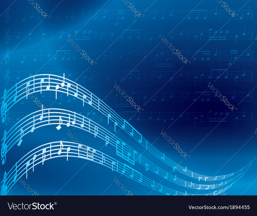 Music notes - blue abstract background vector | Price: 1 Credit (USD $1)