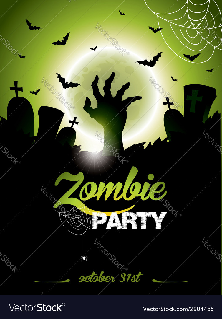 On a halloween zombie party vector | Price: 3 Credit (USD $3)