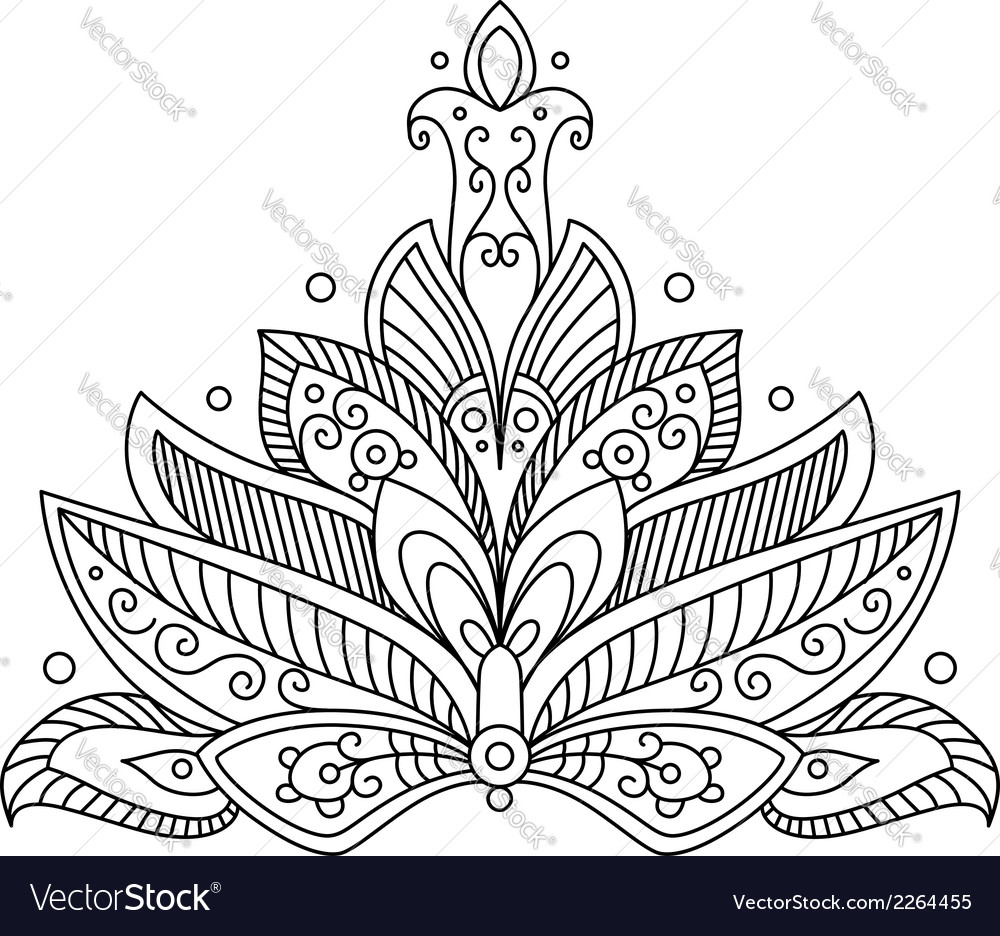 Ornate dainty persian paisley floral motif vector | Price: 1 Credit (USD $1)