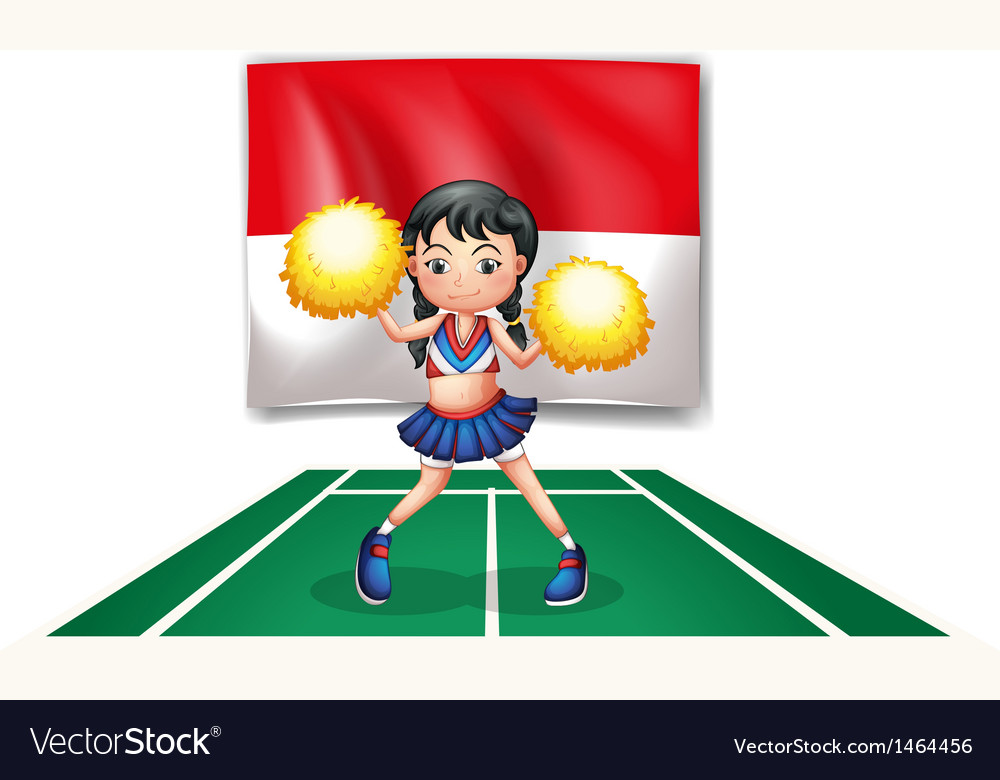 A cheerleader in front of the indonesian flag vector | Price: 1 Credit (USD $1)