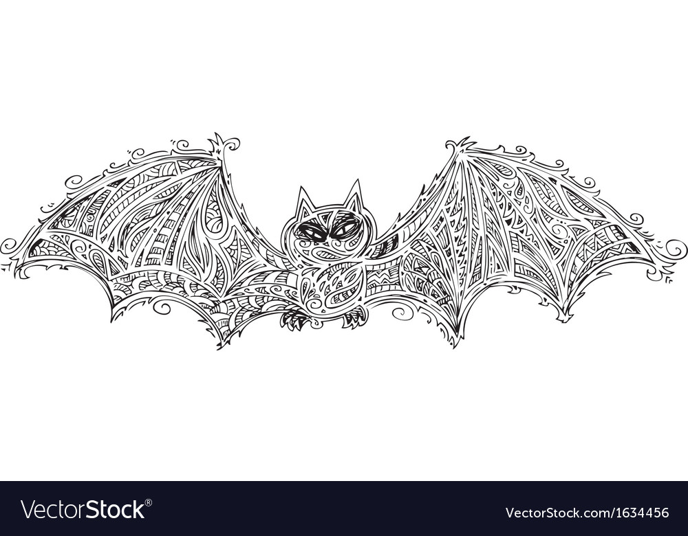 Black bat doodle vector | Price: 1 Credit (USD $1)