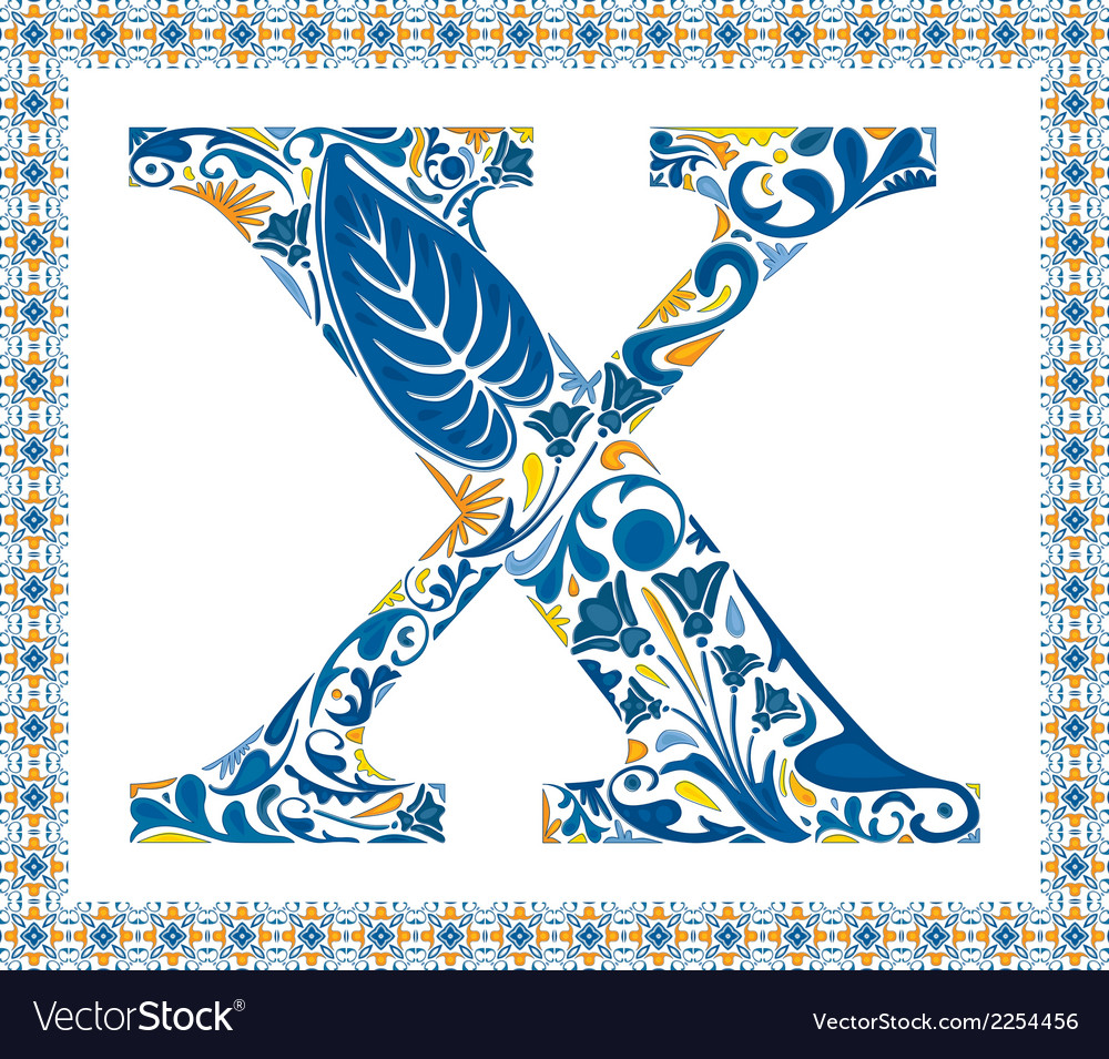Blue letter x vector | Price: 1 Credit (USD $1)