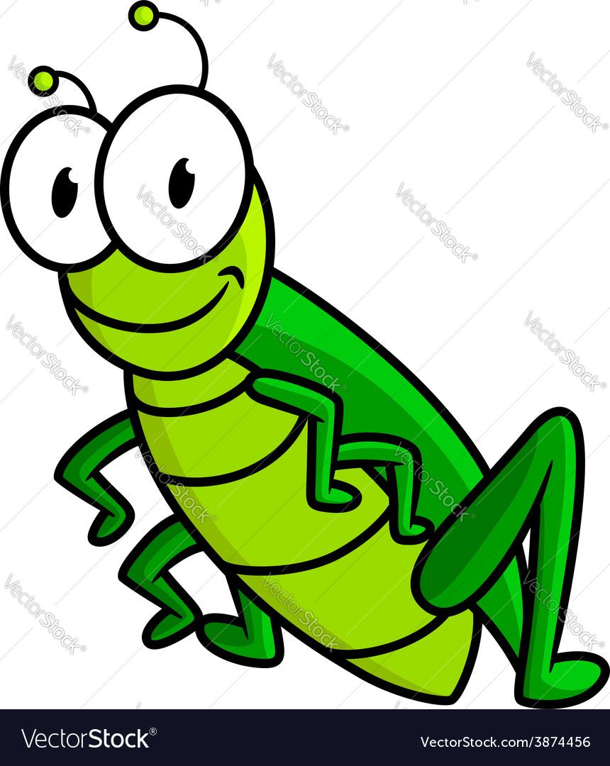 Cartoon funny green grasshopper character vector | Price: 1 Credit (USD $1)