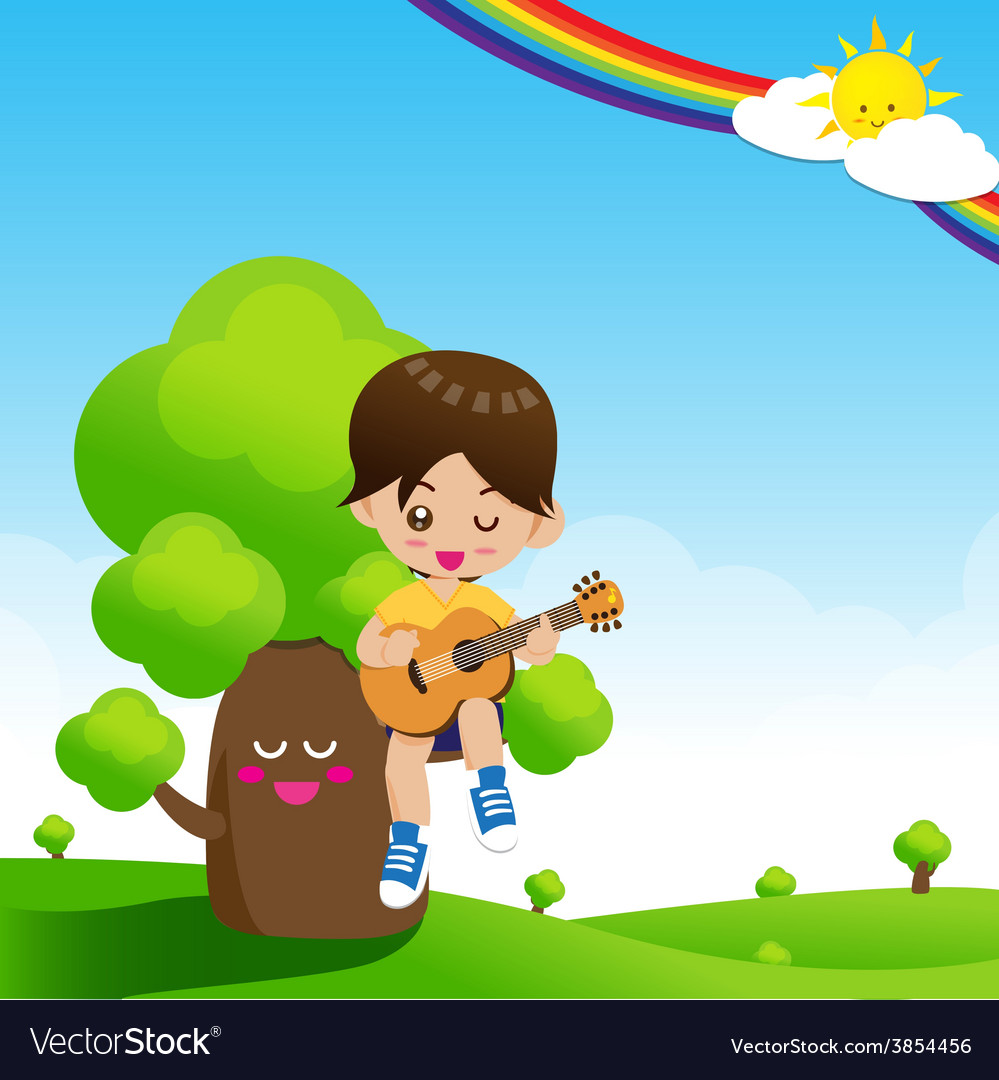 Cute little boy child playing a music guitar on vector | Price: 3 Credit (USD $3)