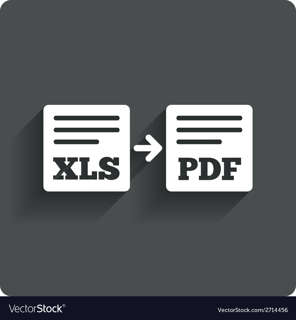Export xls to pdf icon file document symbol vector | Price: 1 Credit (USD $1)