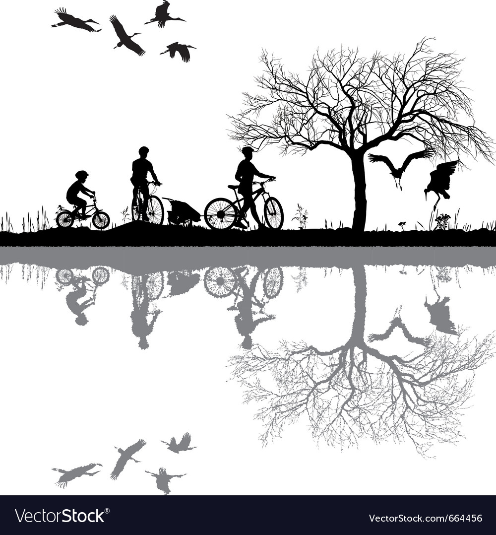 Family cycling on the edge of the lake vector | Price: 1 Credit (USD $1)