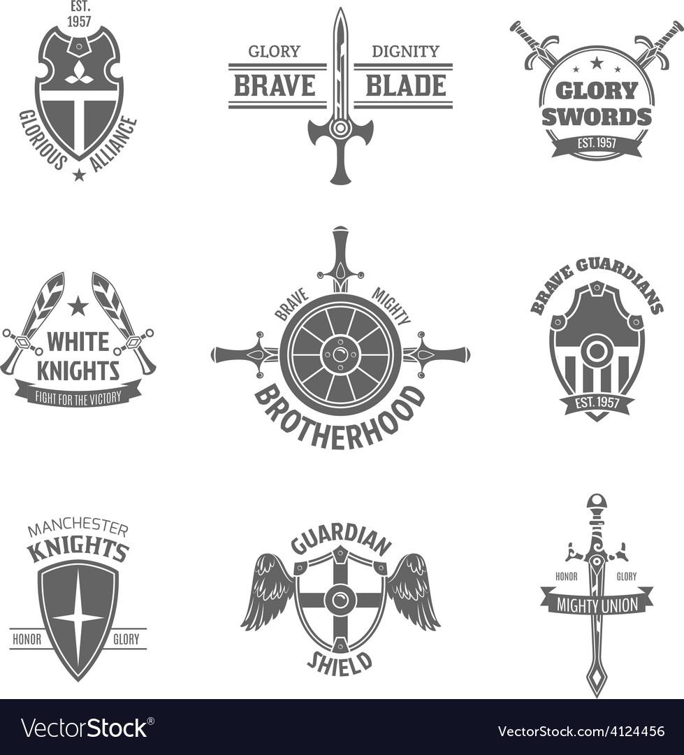 Heraldic coat of arms labels set vector | Price: 1 Credit (USD $1)