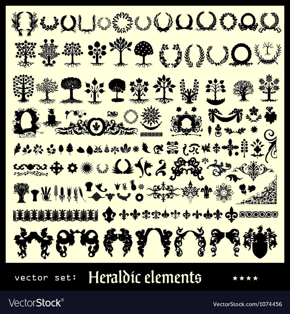 Heraldic elements floral vector   Price: 1 Credit (USD $1)