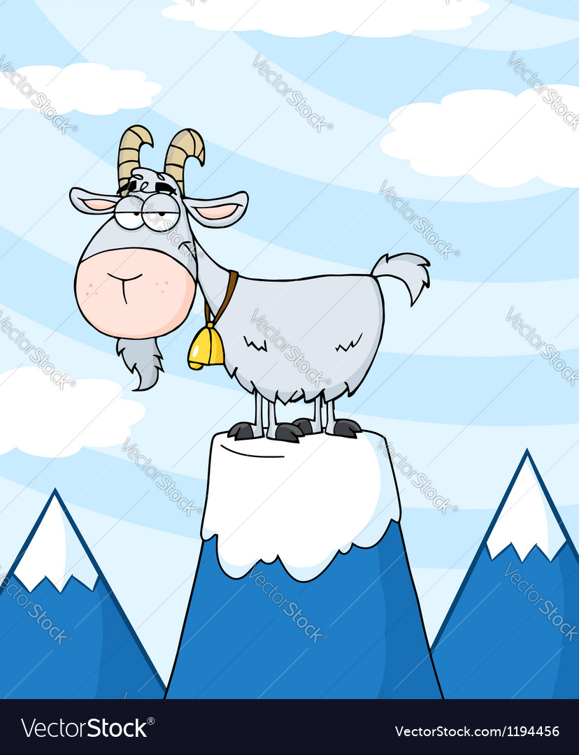 Longhorn on top of a mountain peak vector | Price: 1 Credit (USD $1)