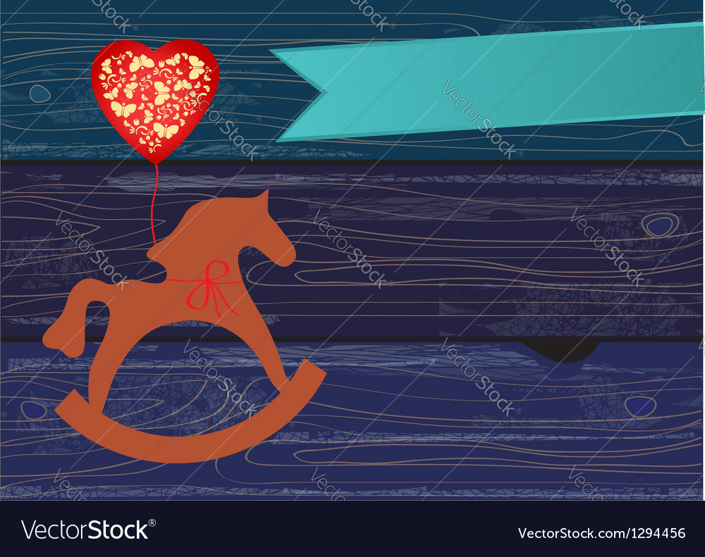 Rocking horse with a heart shaped balloon vector | Price: 1 Credit (USD $1)