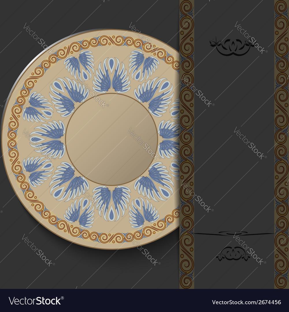 Stylish greek round ornament on a dark background vector | Price: 1 Credit (USD $1)