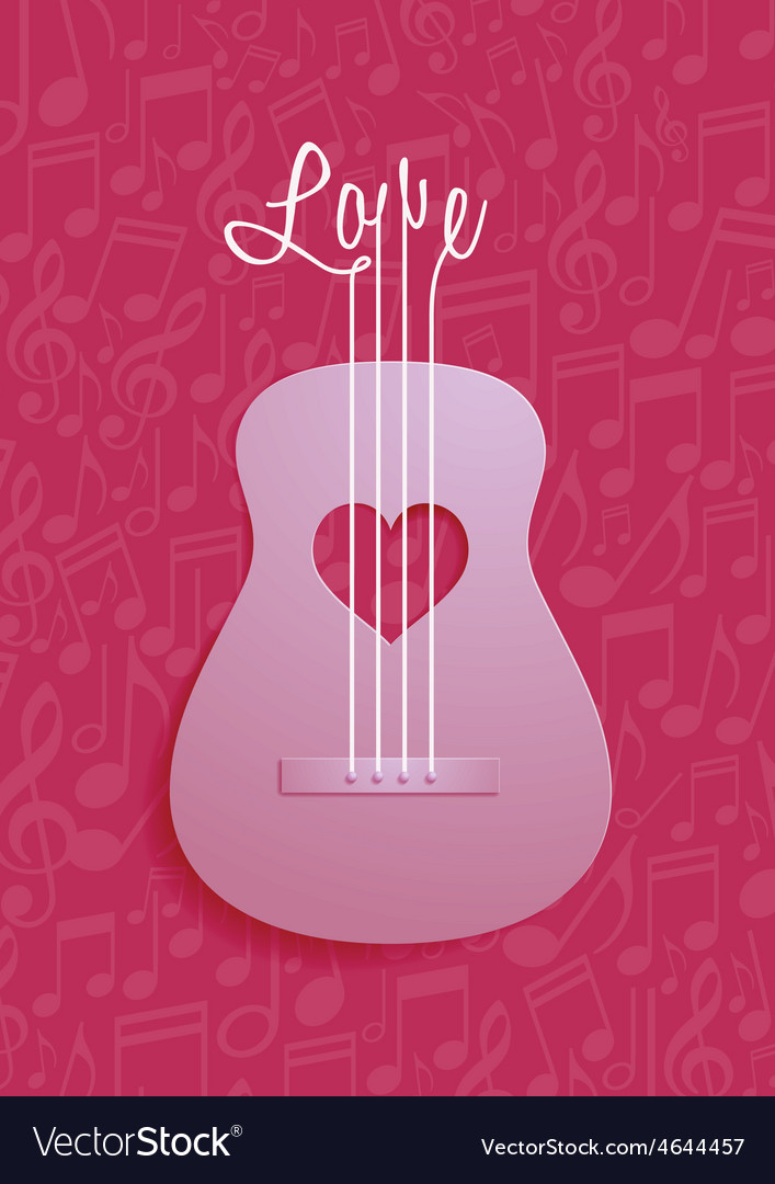 Abstract guitar and love symbol with notes vector | Price: 1 Credit (USD $1)