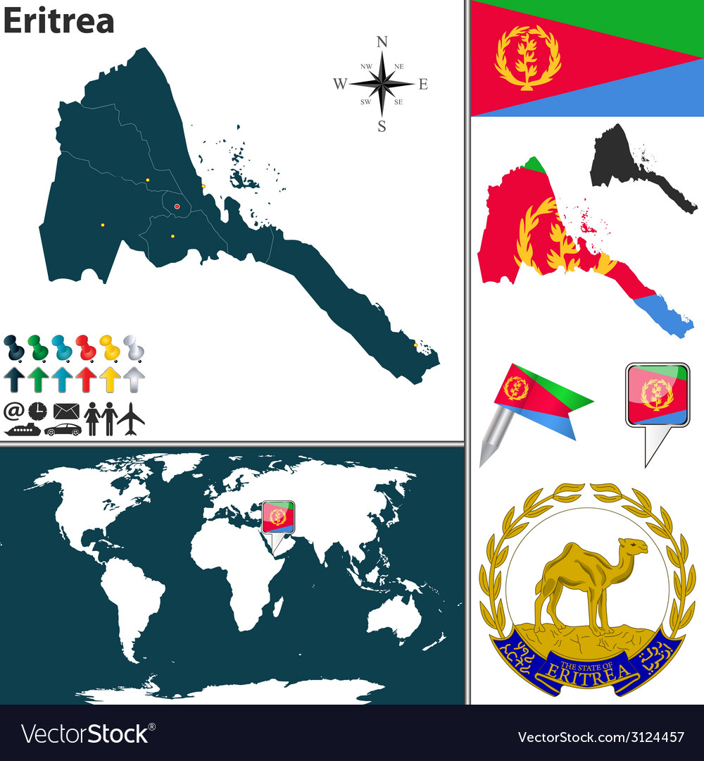 Eritrea map world vector | Price: 1 Credit (USD $1)