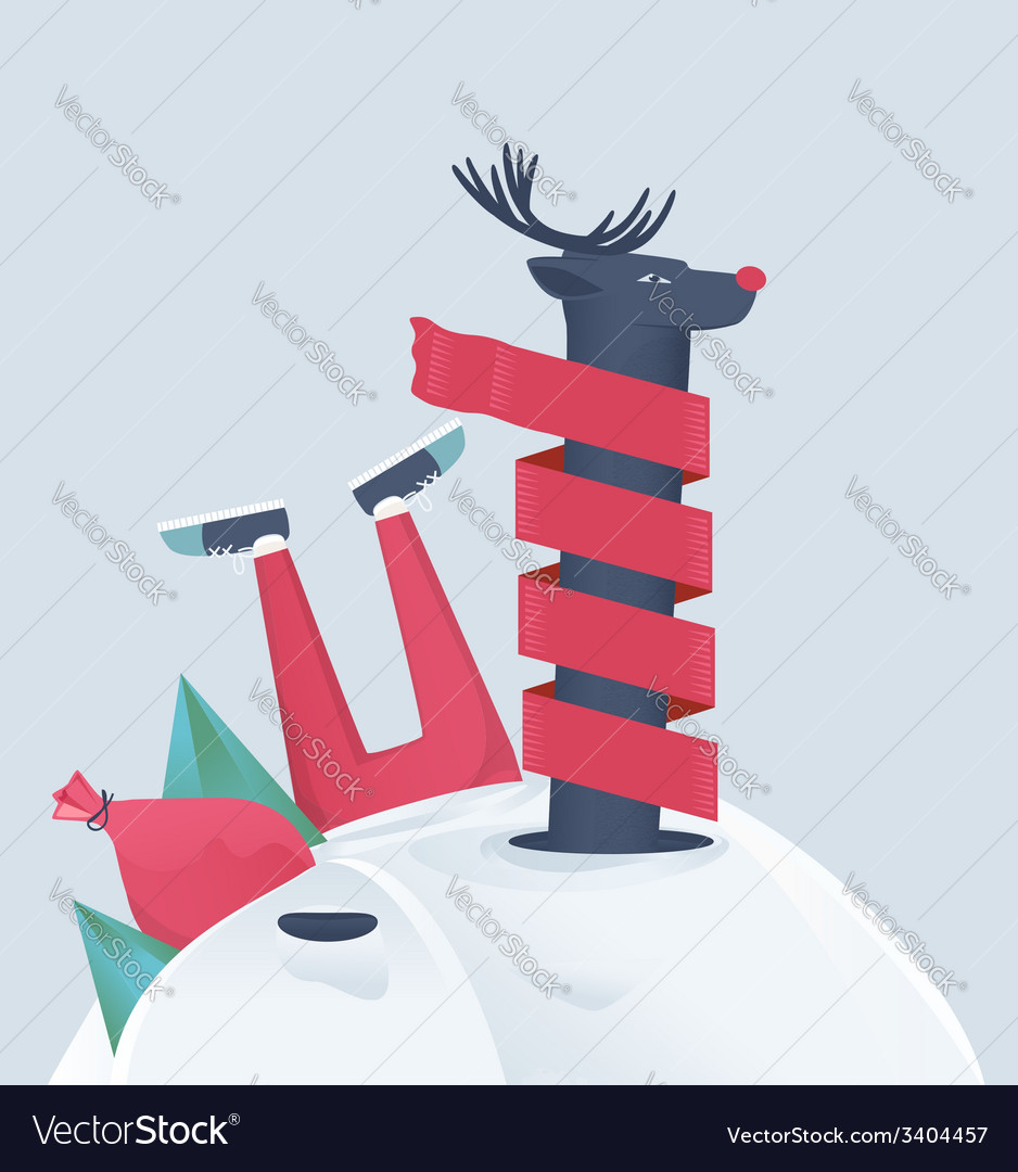 Funny reindeer in a snowdrift vector | Price: 1 Credit (USD $1)