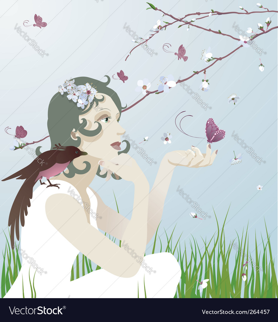 Girl and nature vector | Price: 1 Credit (USD $1)