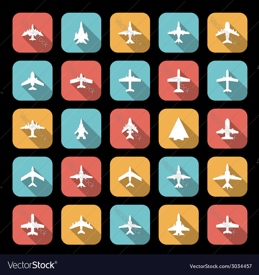 Icons of airplanes vector | Price: 1 Credit (USD $1)