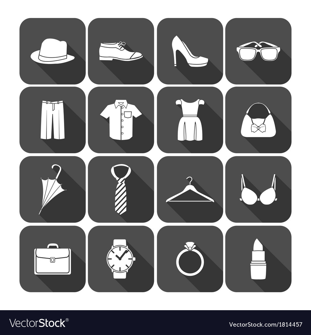 Men and women clothes accessories icons vector | Price: 1 Credit (USD $1)