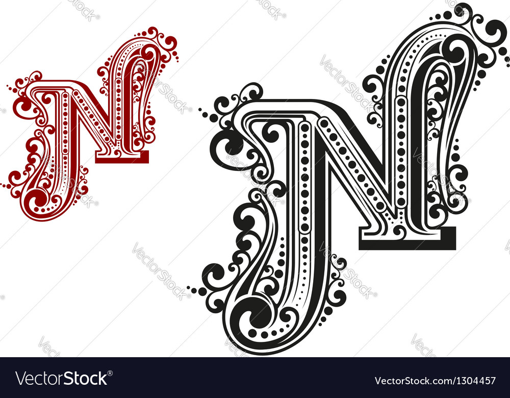 N letter in vintage calligraphic style vector | Price: 1 Credit (USD $1)