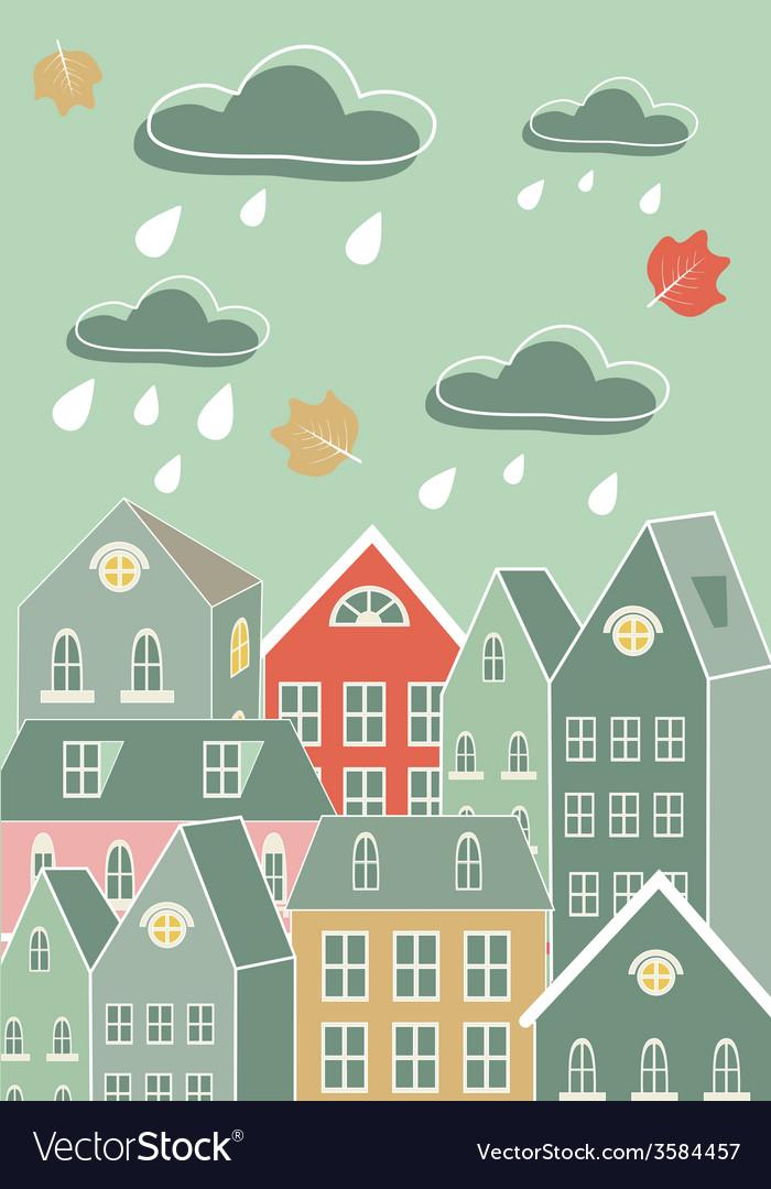 Rainy city vector | Price: 1 Credit (USD $1)