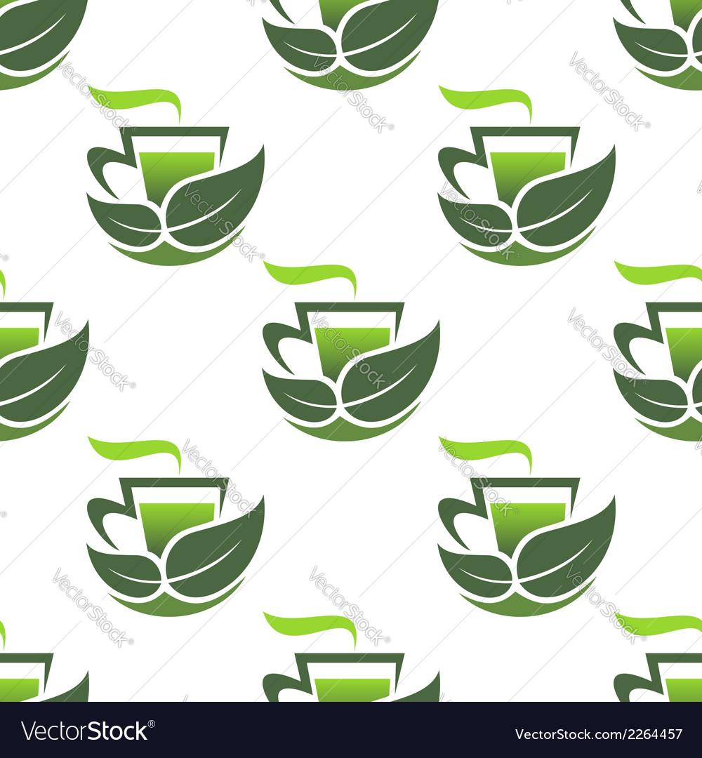 Seamless pattern of green organic tea vector | Price: 1 Credit (USD $1)