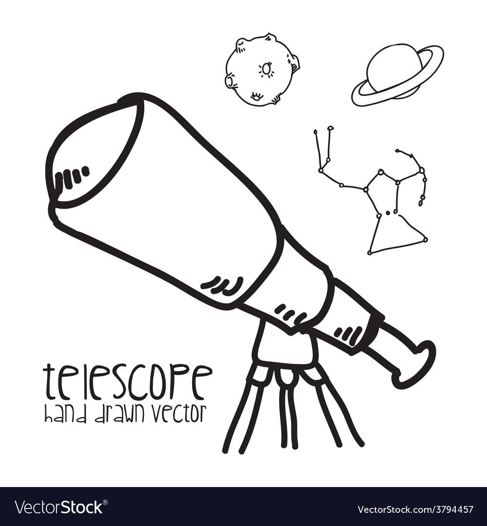 Telescope drawn vector | Price: 1 Credit (USD $1)