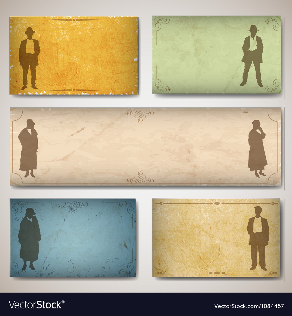 Vintage card with silhouettes vector | Price: 1 Credit (USD $1)