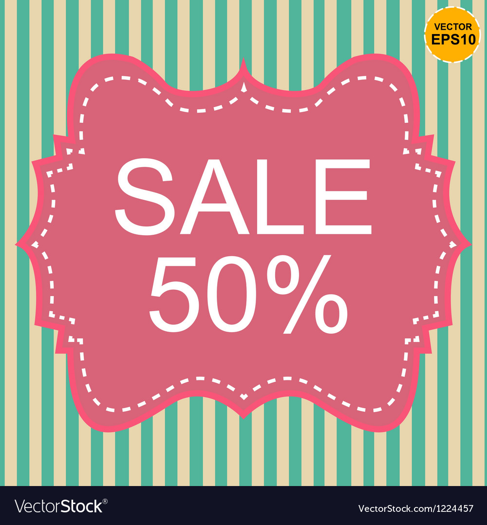 Vintage label 50 sale off on pastel stripe eps10 vector | Price: 1 Credit (USD $1)