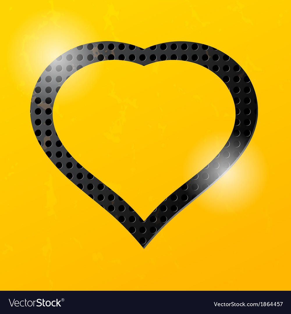 Yellow technological background and heart vector | Price: 1 Credit (USD $1)