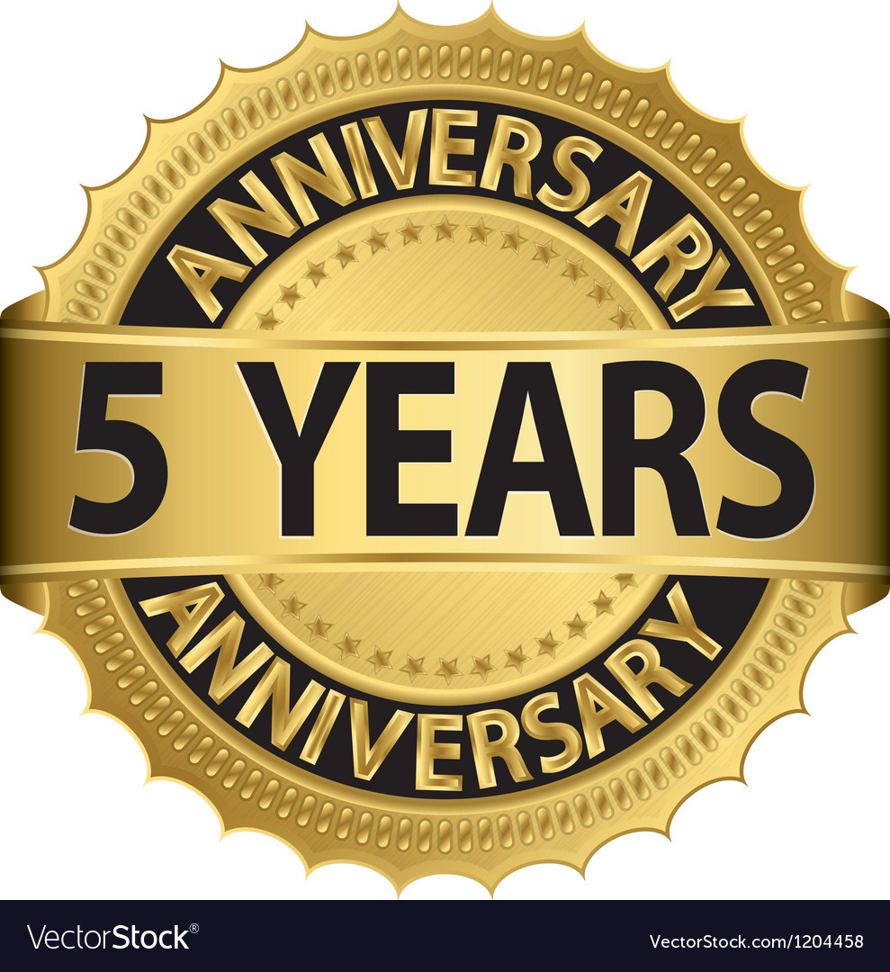 5 years anniversary golden label with ribbon vector | Price: 1 Credit (USD $1)