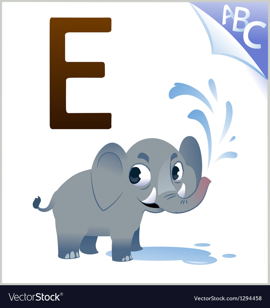 Animal alphabet for the kids e for the elephant vector | Price: 1 Credit (USD $1)