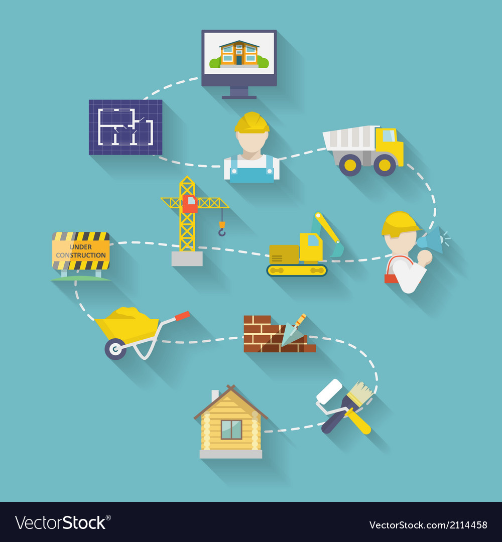 Construction design flat vector | Price: 1 Credit (USD $1)