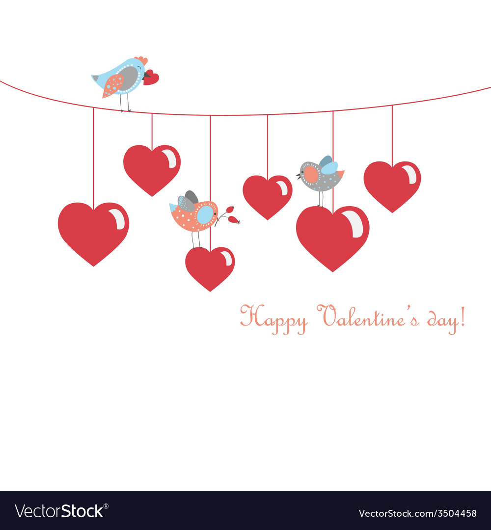 Cute birds celebrating valentines day vector | Price: 1 Credit (USD $1)