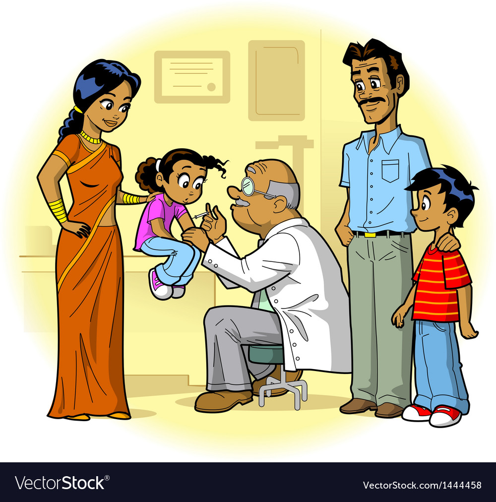 Indian family doctor visit vector | Price: 3 Credit (USD $3)