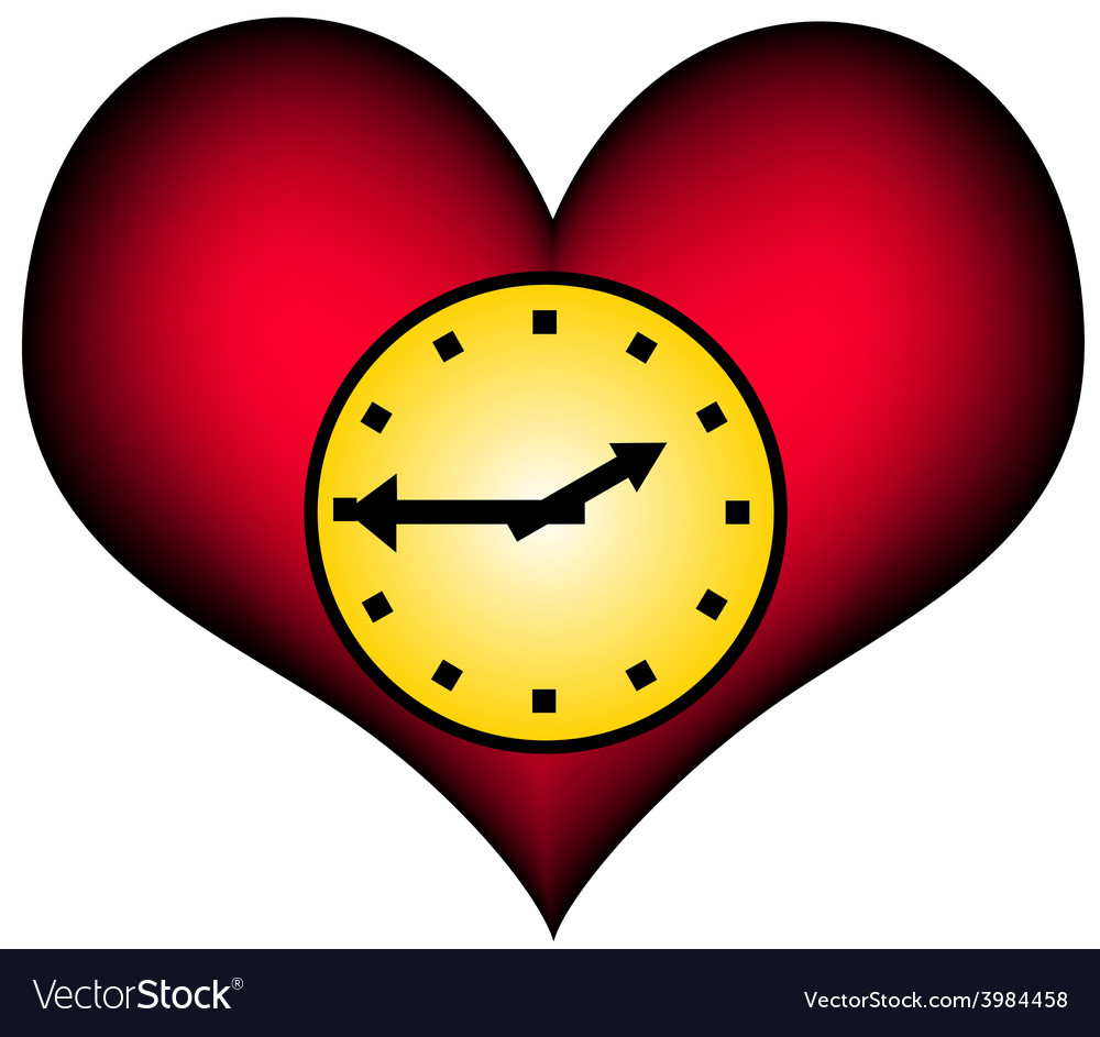 Lifetime - red heart with clock vector | Price: 1 Credit (USD $1)