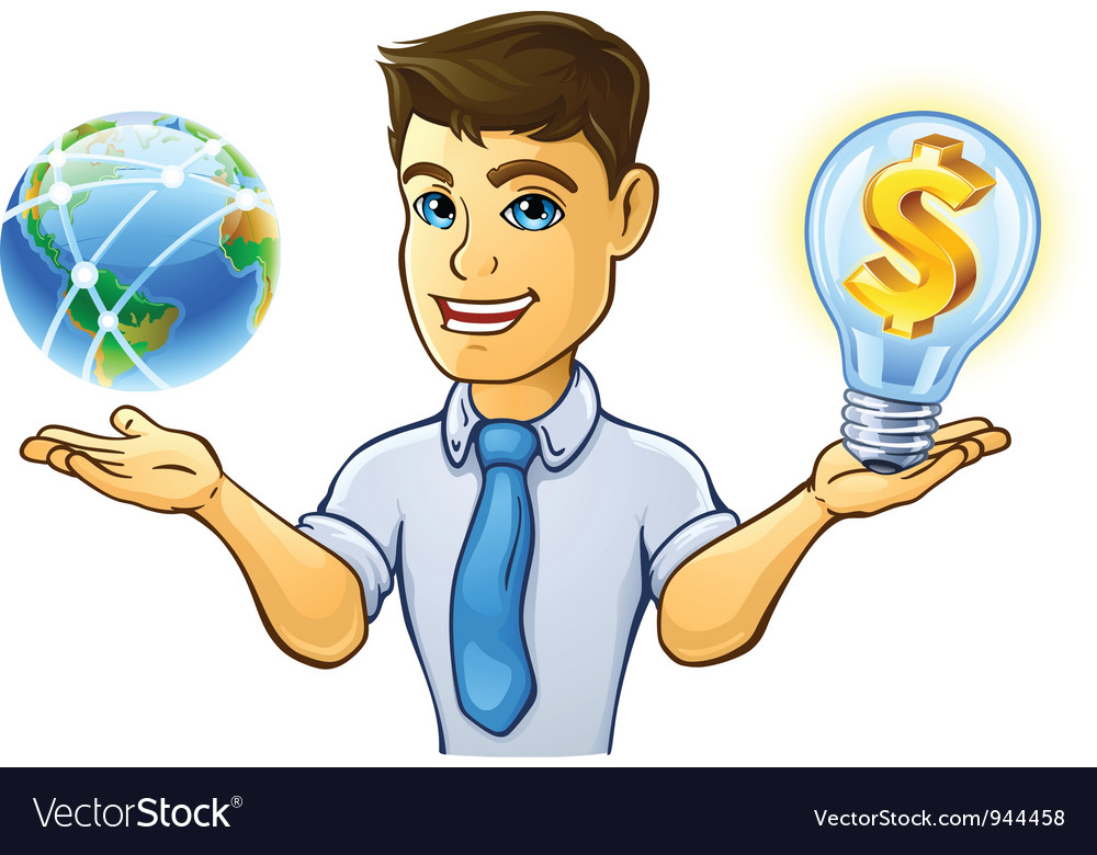 Man having control over planet earth and light bul vector | Price: 1 Credit (USD $1)