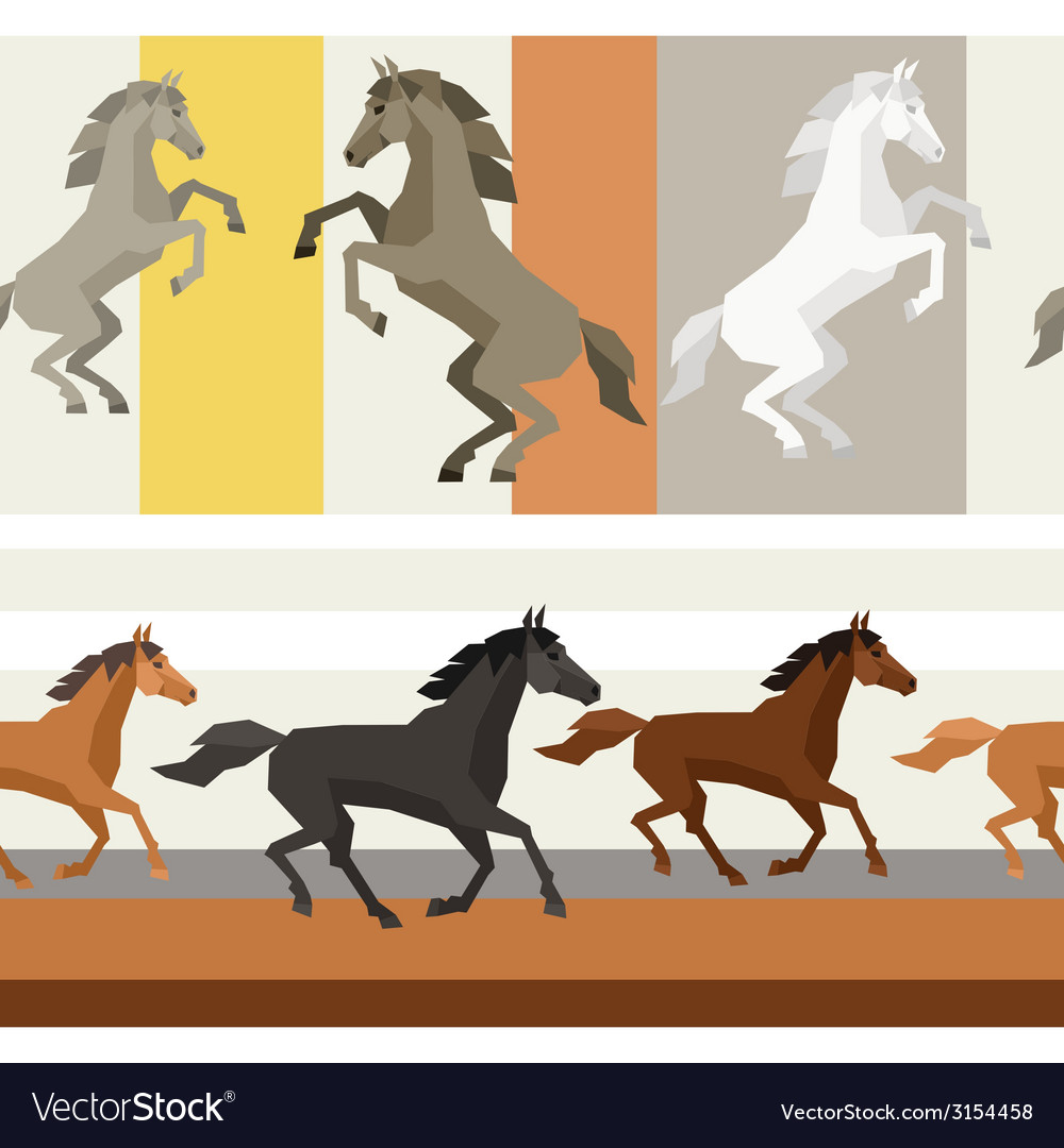 Seamless patterns with horse in flat style vector | Price: 1 Credit (USD $1)