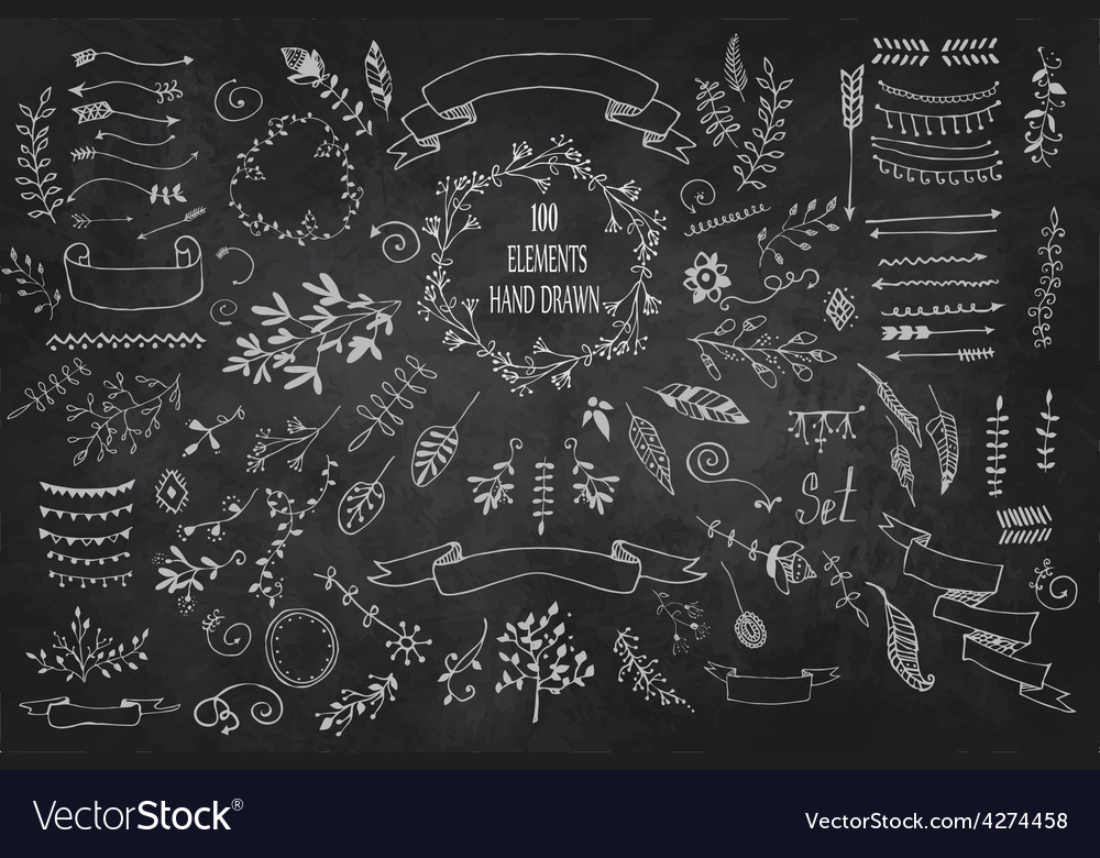 Set hand drawn elements frames dividers borders vector | Price: 1 Credit (USD $1)