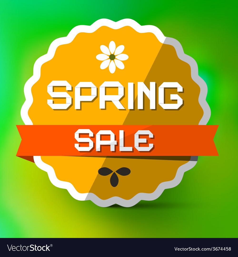 Spring sale orange label on green bokeh background vector   Price: 1 Credit (USD $1)