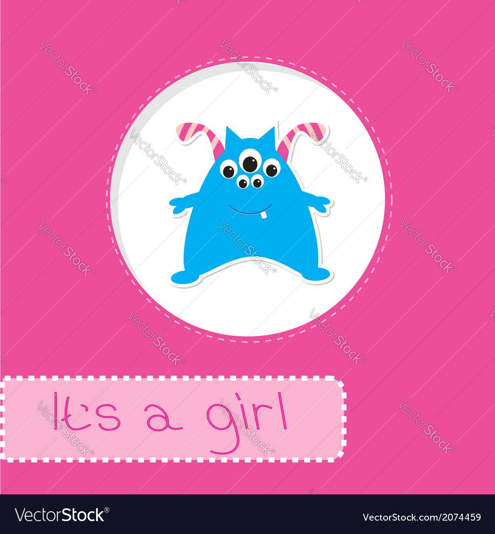 Baby shower card with monster its a girl vector | Price: 1 Credit (USD $1)