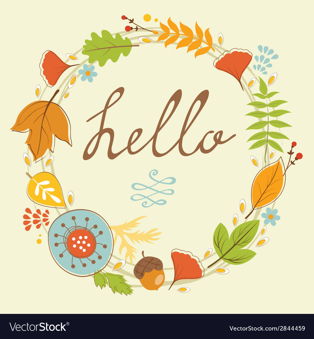 Beautiful hello card with autumn wreath vector | Price: 1 Credit (USD $1)