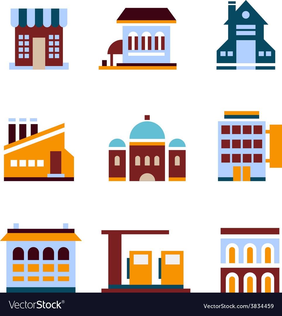 Building icon set abstract architecture vector | Price: 1 Credit (USD $1)